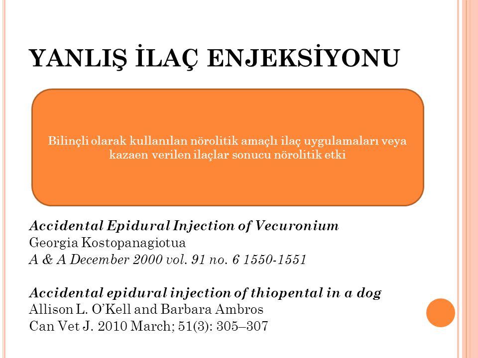 YANLIŞ İLAÇ ENJEKSİYONU Accidental Epidural Injection of Vecuronium Georgia Kostopanagiotua A & A December 2000 vol. 91 no. 6 1550-1551 Accidental epi