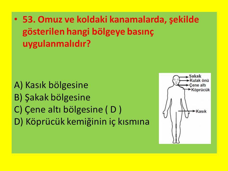8.Omuz ve koldaki kanamalarda, şekilde gösterilen hangi bölgeye basınç uygulanmalıdır.