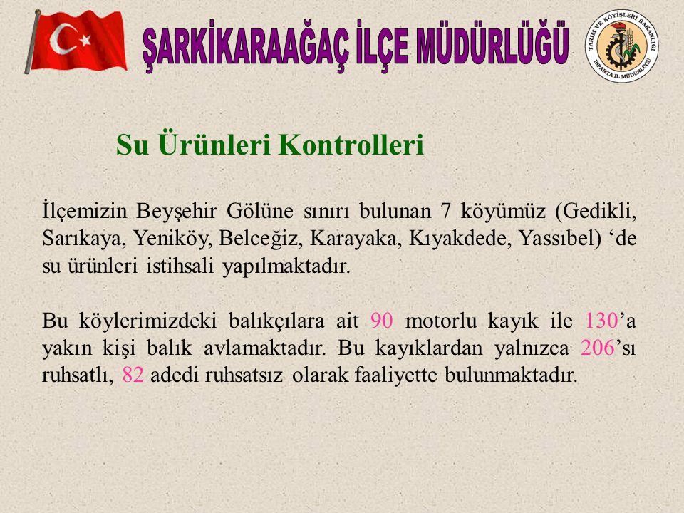 İlçemizin Beyşehir Gölüne sınırı bulunan 7 köyümüz (Gedikli, Sarıkaya, Yeniköy, Belceğiz, Karayaka, Kıyakdede, Yassıbel) 'de su ürünleri istihsali yapılmaktadır.