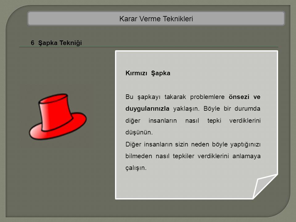 Karar Verme Teknikleri 6 Şapka Tekniği Kırmızı Şapka Bu şapkayı takarak problemlere önsezi ve duygularınızla yaklaşın. Böyle bir durumda diğer insanla
