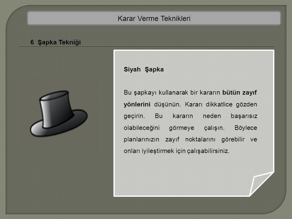 Karar Verme Teknikleri 6 Şapka Tekniği Siyah Şapka Bu şapkayı kullanarak bir kararın bütün zayıf yönlerini düşünün. Kararı dikkatlice gözden geçirin.