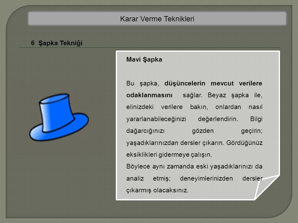 Karar Verme Teknikleri 6 Şapka Tekniği Mavi Şapka Bu şapka, düşüncelerin mevcut verilere odaklanmasını sağlar. Beyaz şapka ile, elinizdeki verilere ba