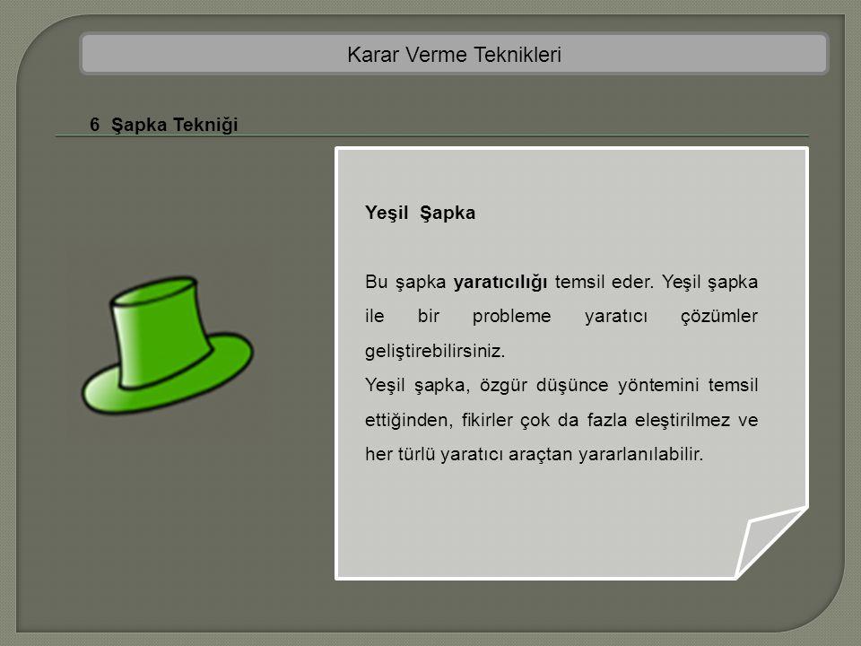 Karar Verme Teknikleri 6 Şapka Tekniği Yeşil Şapka Bu şapka yaratıcılığı temsil eder. Yeşil şapka ile bir probleme yaratıcı çözümler geliştirebilirsin