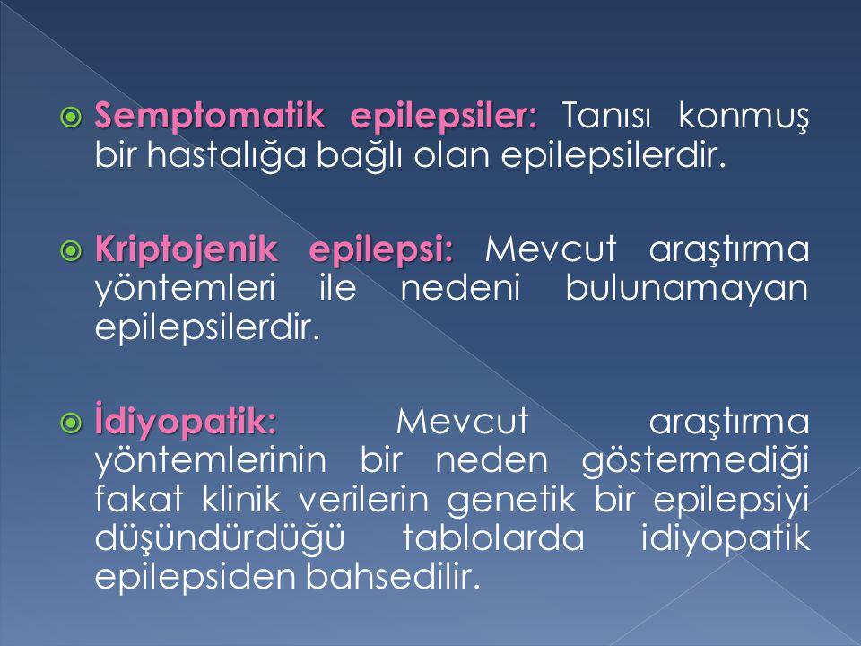  Semptomatik epilepsiler:  Semptomatik epilepsiler: Tanısı konmuş bir hastalığa bağlı olan epilepsilerdir.  Kriptojenik epilepsi:  Kriptojenik epi