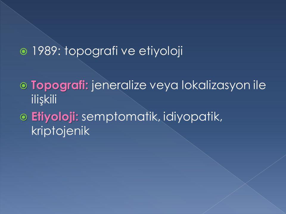 1989: topografi ve etiyoloji  Topografi:  Topografi: jeneralize veya lokalizasyon ile ilişkili  Etiyoloji:  Etiyoloji: semptomatik, idiyopatik,