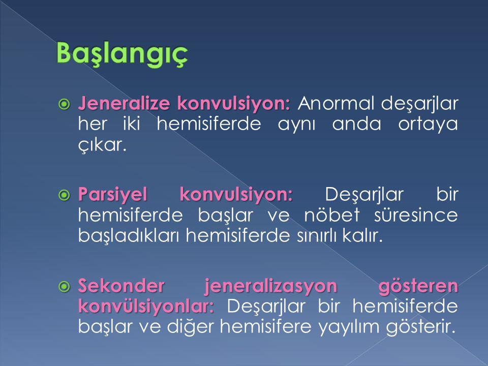  Jeneralize konvulsiyon:  Jeneralize konvulsiyon: Anormal deşarjlar her iki hemisiferde aynı anda ortaya çıkar.  Parsiyel konvulsiyon:  Parsiyel k