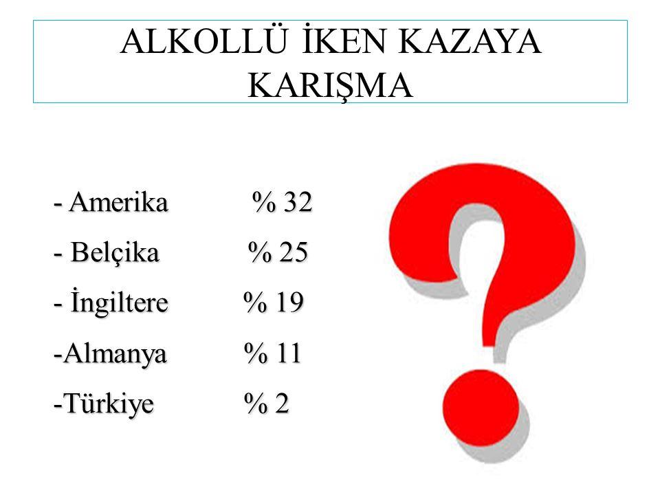ALKOLLÜ İKEN KAZAYA KARIŞMA - Amerika % 32 - Belçika % 25 - İngiltere % 19 -Almanya % 11 -Türkiye % 2