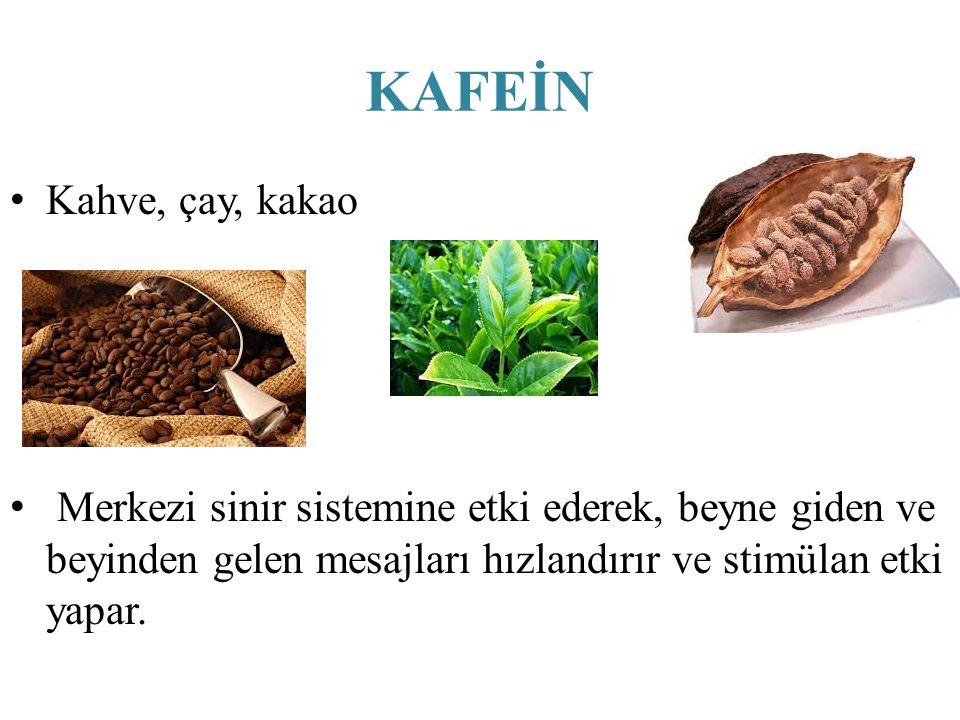 KAFEİN Kahve, çay, kakao Merkezi sinir sistemine etki ederek, beyne giden ve beyinden gelen mesajları hızlandırır ve stimülan etki yapar.