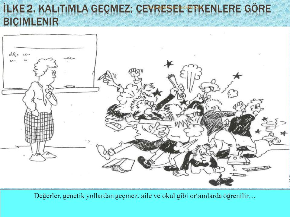 Değerler, genetik yollardan geçmez; aile ve okul gibi ortamlarda öğrenilir… www.egitimcininadresi.com