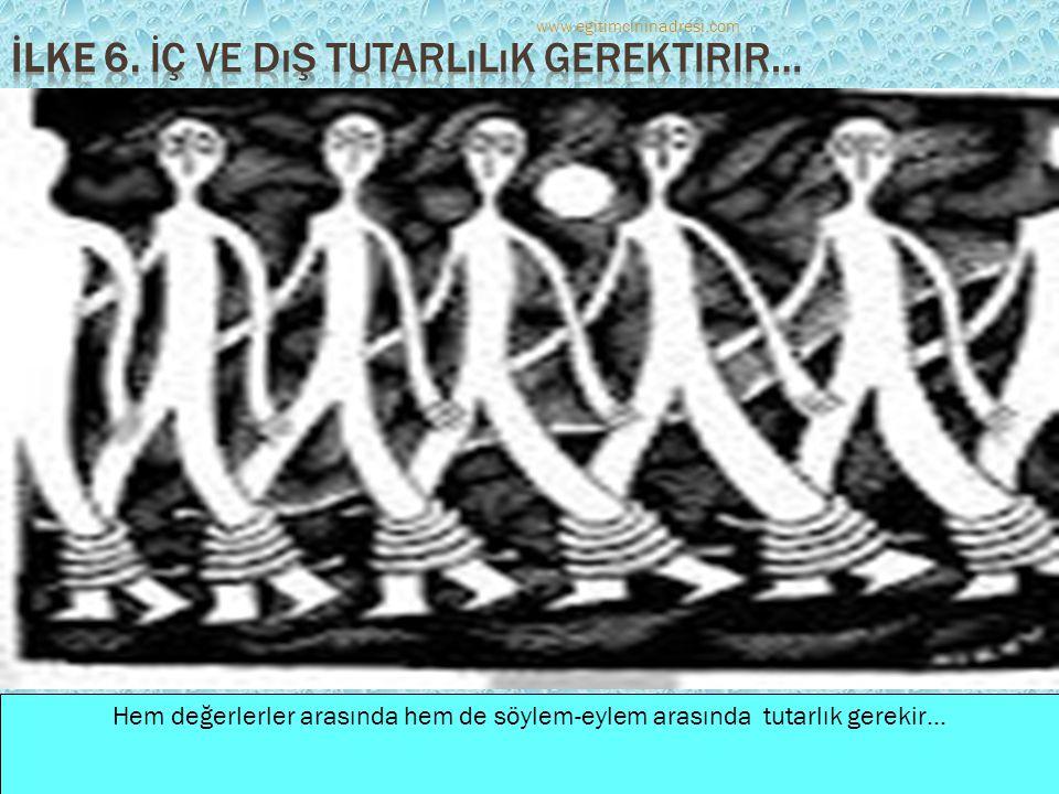 Hem değerlerler arasında hem de söylem-eylem arasında tutarlık gerekir… www.egitimcininadresi.com