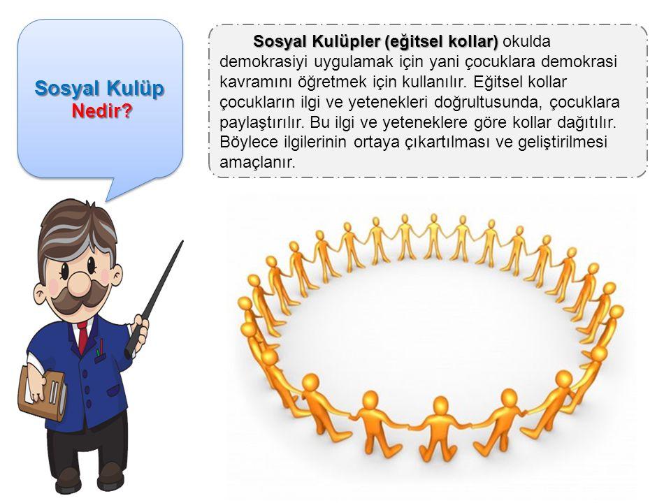 Sosyal Kulüp Nedir? Nedir? Sosyal Kulüp Nedir? Nedir? Sosyal Kulüpler (eğitsel kollar) Sosyal Kulüpler (eğitsel kollar) okulda demokrasiyi uygulamak i