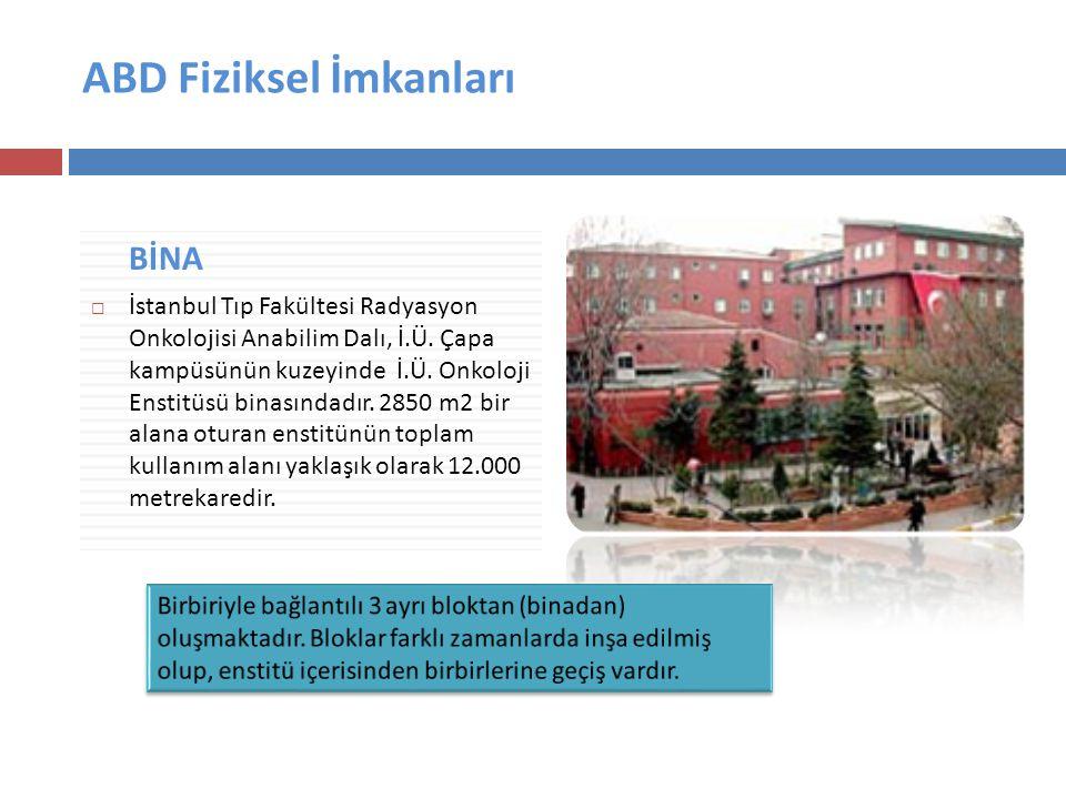 ABD Fiziksel İmkanları BİNA  İstanbul Tıp Fakültesi Radyasyon Onkolojisi Anabilim Dalı, İ.Ü.