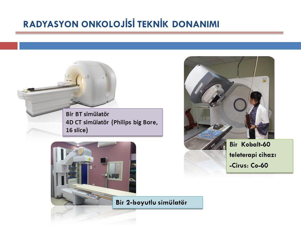 RADYASYON ONKOLOJ İ S İ TEKN İ K DONANIMI Bir BT simülatör 4D CT simülatör (Philips big Bore, 16 slice) Bir 2-boyutlu simülatör Bir Kobalt-60 teleterapi cihazı -Cirus: Co-60 Bir Kobalt-60 teleterapi cihazı -Cirus: Co-60