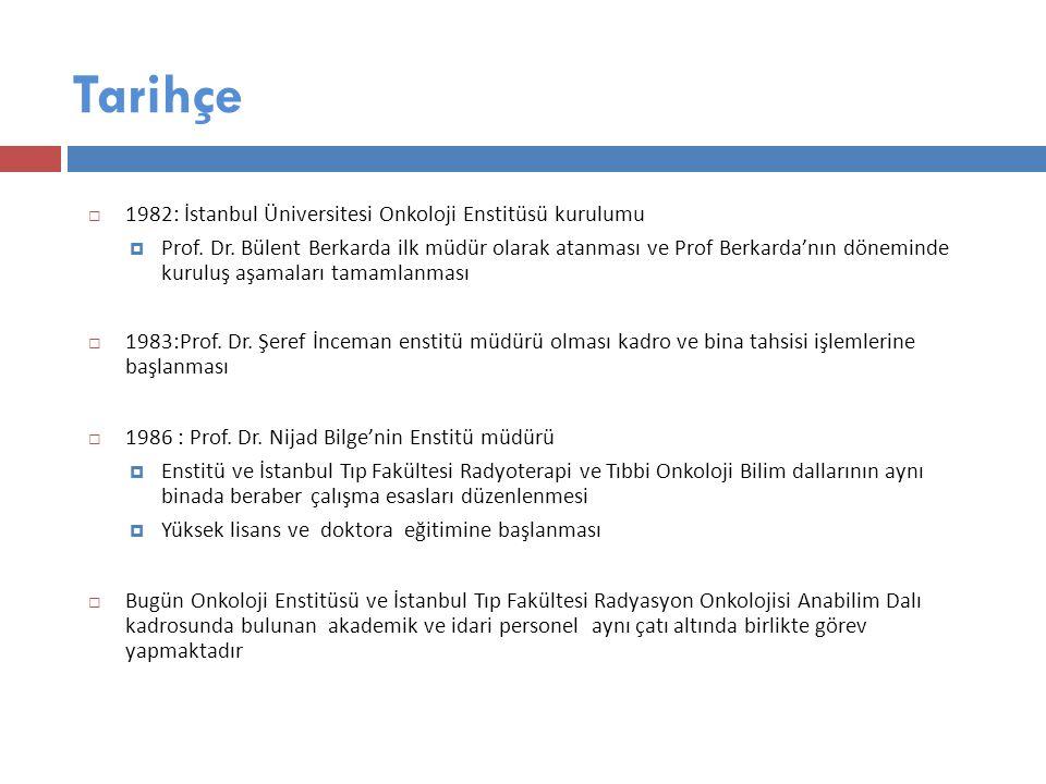 Tarihçe  1982: İstanbul Üniversitesi Onkoloji Enstitüsü kurulumu  Prof.