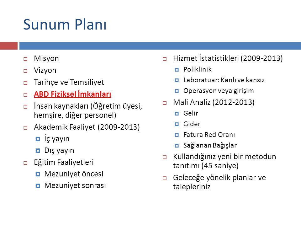 Sunum Planı  Misyon  Vizyon  Tarihçe ve Temsiliyet  ABD Fiziksel İmkanları  İnsan kaynakları (Öğretim üyesi, hemşire, diğer personel)  Akademik Faaliyet (2009-2013)  İç yayın  Dış yayın  Eğitim Faaliyetleri  Mezuniyet öncesi  Mezuniyet sonrası  Hizmet İstatistikleri (2009-2013)  Poliklinik  Laboratuar: Kanlı ve kansız  Operasyon veya girişim  Mali Analiz (2012-2013)  Gelir  Gider  Fatura Red Oranı  Sağlanan Bağışlar  Kullandığınız yeni bir metodun tanıtımı (45 saniye)  Geleceğe yönelik planlar ve talepleriniz