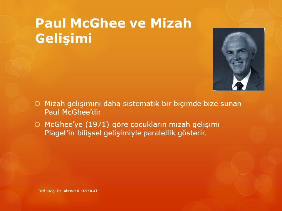 Paul McGhee ve Mizah Gelişimi  Mizah gelişimini daha sistematik bir biçimde bize sunan Paul McGhee'dir  McGhee'ye (1971) göre çocukların mizah geliş