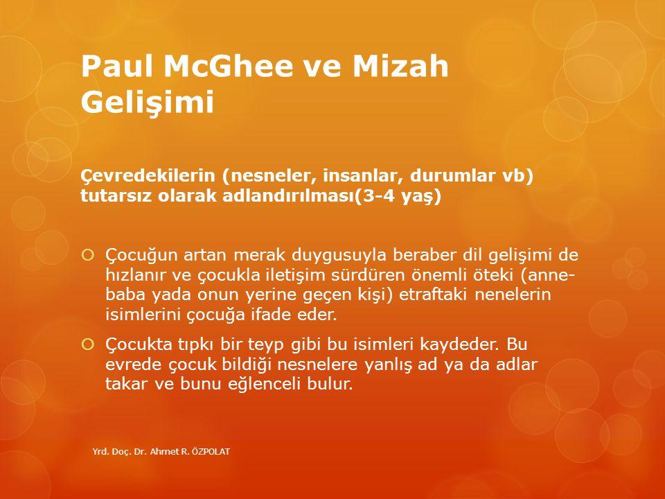 Paul McGhee ve Mizah Gelişimi Çevredekilerin (nesneler, insanlar, durumlar vb) tutarsız olarak adlandırılması(3-4 yaş)  Çocuğun artan merak duygusuyl