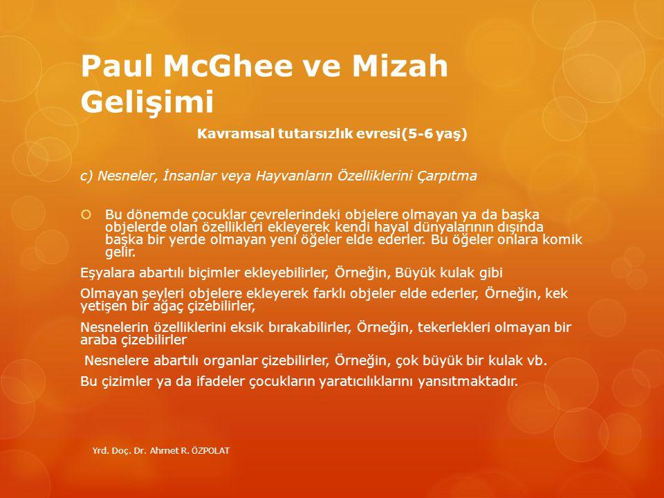 Paul McGhee ve Mizah Gelişimi Kavramsal tutarsızlık evresi(5-6 yaş) c) Nesneler, İnsanlar veya Hayvanların Özelliklerini Çarpıtma  Bu dönemde çocukla