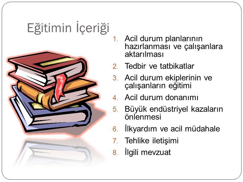 Eğitimin İçeriği 1. Acil durum planlarının hazırlanması ve çalışanlara aktarılması 2.