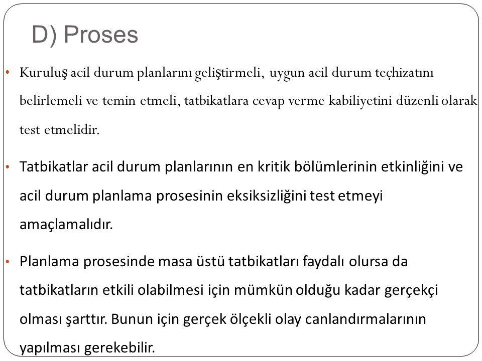 D) Proses Kurulu ş acil durum planlarını geli ş tirmeli, uygun acil durum teçhizatını belirlemeli ve temin etmeli, tatbikatlara cevap verme kabiliyetini düzenli olarak test etmelidir.