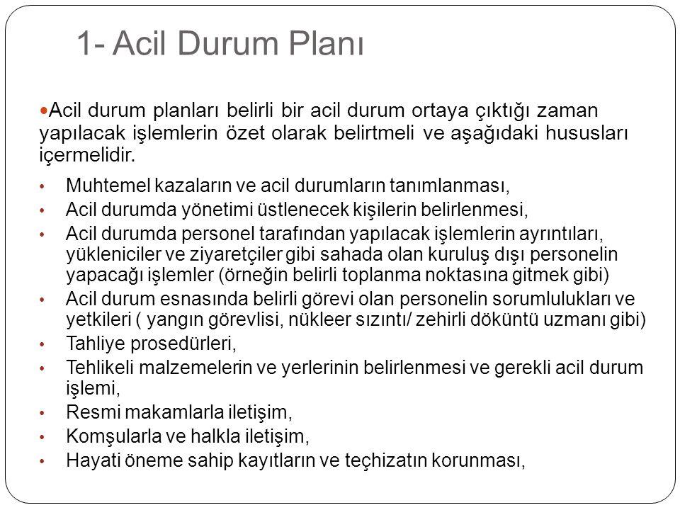 1- Acil Durum Planı Acil durum planları belirli bir acil durum ortaya çıktığı zaman yapılacak işlemlerin özet olarak belirtmeli ve aşağıdaki hususları içermelidir.