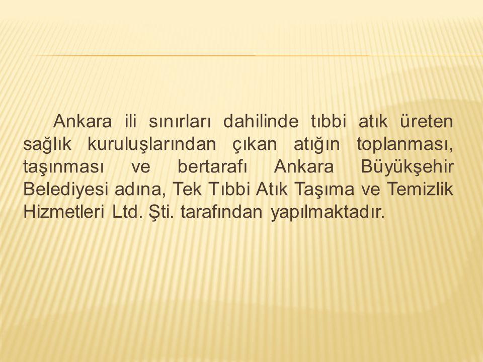 Ankara ili sınırları dahilinde tıbbi atık üreten sağlık kuruluşlarından çıkan atığın toplanması, taşınması ve bertarafı Ankara Büyükşehir Belediyesi a