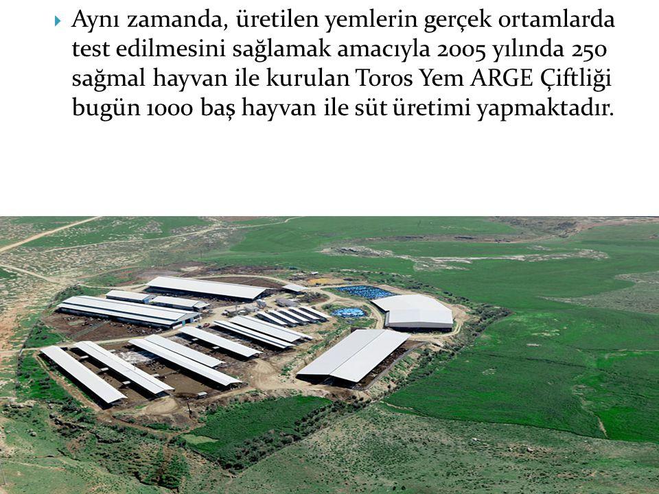  Aynı zamanda, üretilen yemlerin gerçek ortamlarda test edilmesini sağlamak amacıyla 2005 yılında 250 sağmal hayvan ile kurulan Toros Yem ARGE Çiftli