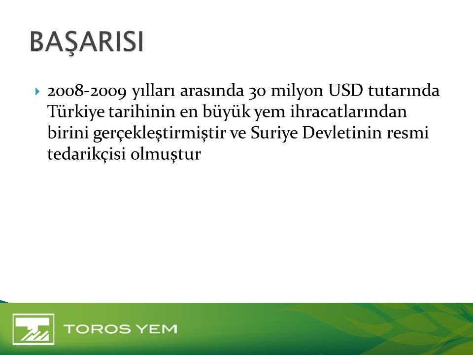  2008-2009 yılları arasında 30 milyon USD tutarında Türkiye tarihinin en büyük yem ihracatlarından birini gerçekleştirmiştir ve Suriye Devletinin res