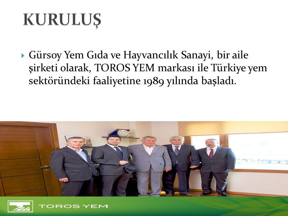  Gürsoy Yem Gıda ve Hayvancılık Sanayi, bir aile şirketi olarak, TOROS YEM markası ile Türkiye yem sektöründeki faaliyetine 1989 yılında başladı.