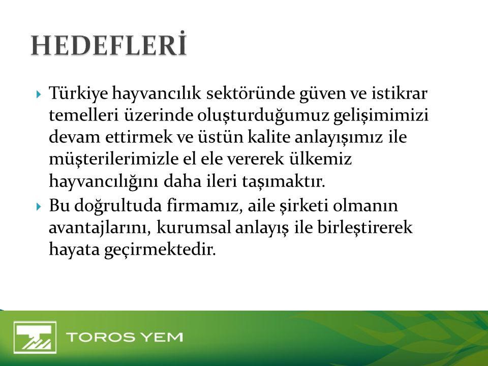  Türkiye hayvancılık sektöründe güven ve istikrar temelleri üzerinde oluşturduğumuz gelişimimizi devam ettirmek ve üstün kalite anlayışımız ile müşte