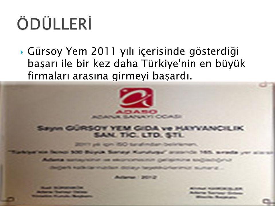  Gürsoy Yem 2011 yılı içerisinde gösterdiği başarı ile bir kez daha Türkiye'nin en büyük firmaları arasına girmeyi başardı.