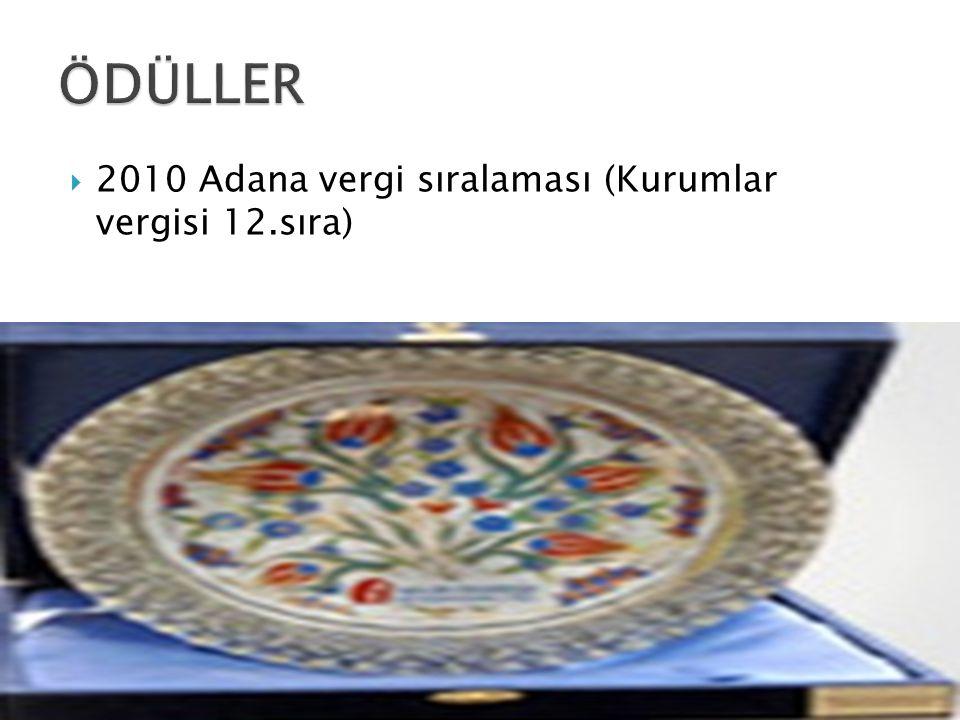  2010 Adana vergi sıralaması (Kurumlar vergisi 12.sıra)