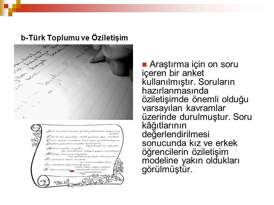 b-Türk Toplumu ve Öziletişim Araştırma için on soru içeren bir anket kullanılmıştır. Soruların hazırlanmasında öziletişimde önemli olduğu varsayılan k