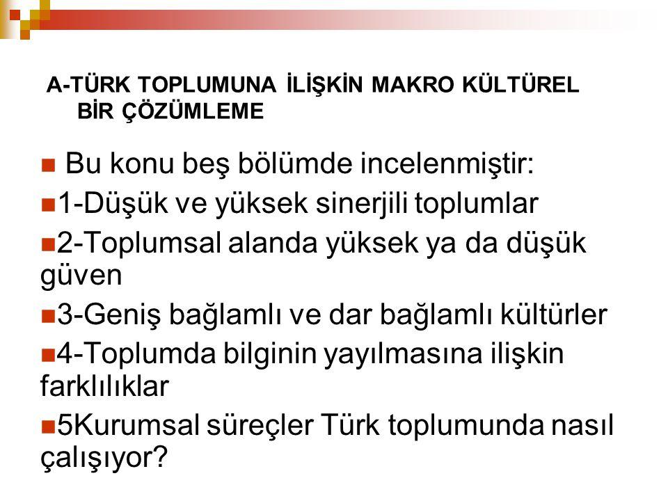 1-Düşük ve Yüksek Sinerjili Toplumlar Çalışma- işbirliği ayrımında Türk toplumu düşük sinerjili toplumlara yakın durmaktadır.