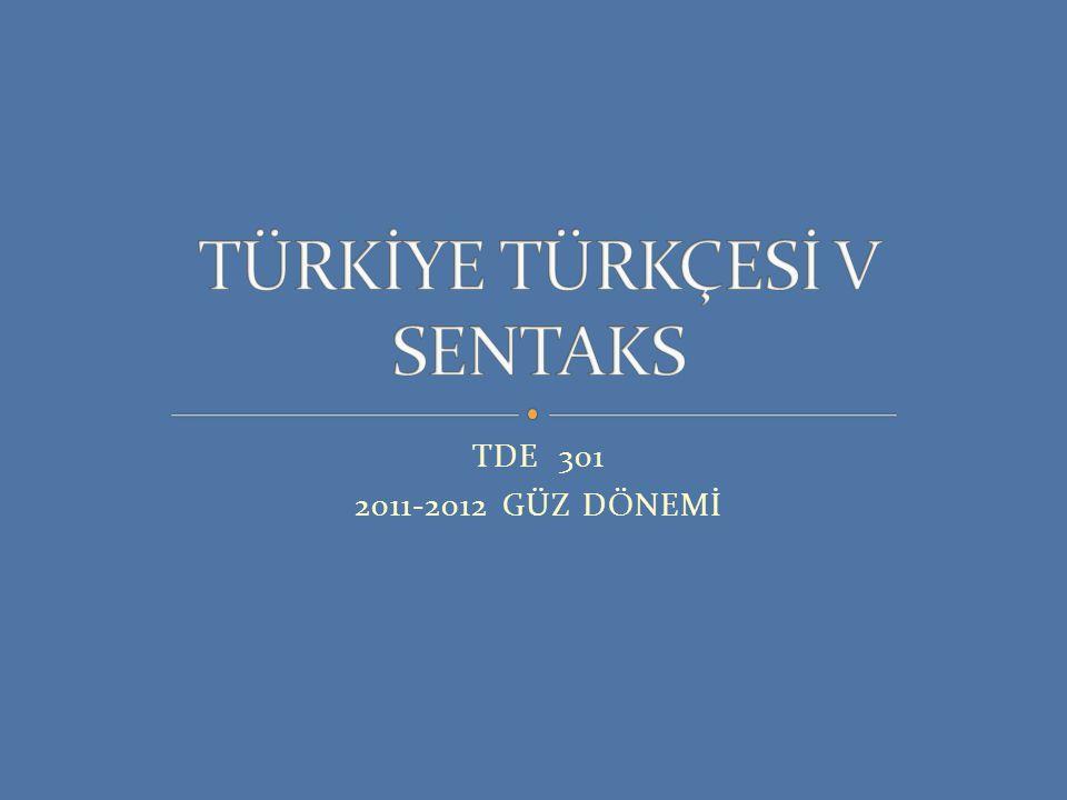 TDE 301 2011-2012 GÜZ DÖNEMİ