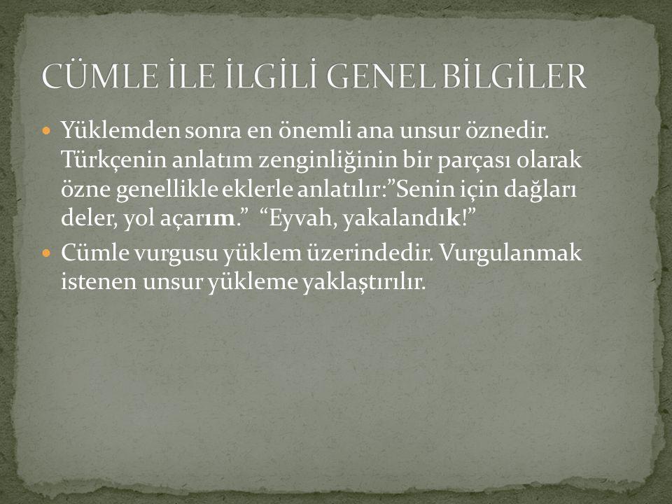 """Yüklemden sonra en önemli ana unsur öznedir. Türkçenin anlatım zenginliğinin bir parçası olarak özne genellikle eklerle anlatılır:""""Senin için dağları"""