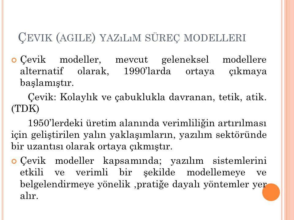 Ç EVIK ( AGILE ) YAZıLıM SÜREÇ MODELLERI Çevik modeller, mevcut geleneksel modellere alternatif olarak, 1990'larda ortaya çıkmaya başlamıştır. Çevik: