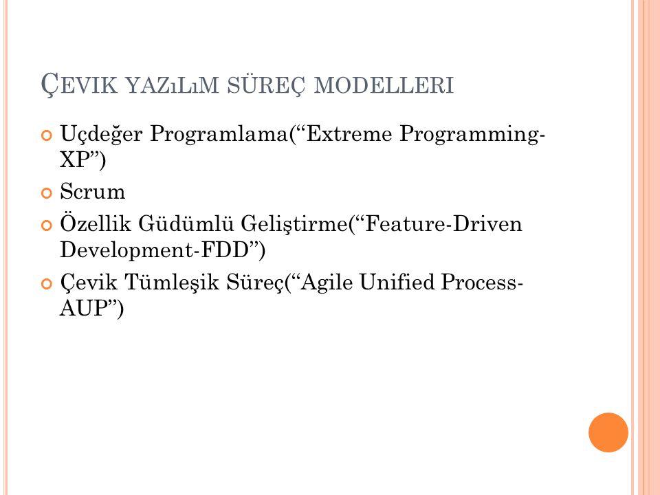 Ç EVIK YAZıLıM SÜREÇ MODELLERI Uçdeğer Programlama(''Extreme Programming- XP'') Scrum Özellik Güdümlü Geliştirme(''Feature-Driven Development-FDD'') Ç