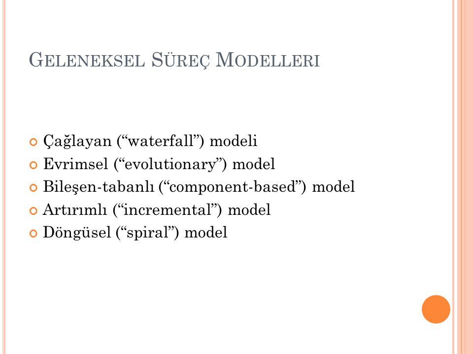 """G ELENEKSEL S ÜREÇ M ODELLERI Çağlayan (""""waterfall"""") modeli Evrimsel (""""evolutionary"""") model Bileşen-tabanlı (""""component-based"""") model Artırımlı (""""incr"""