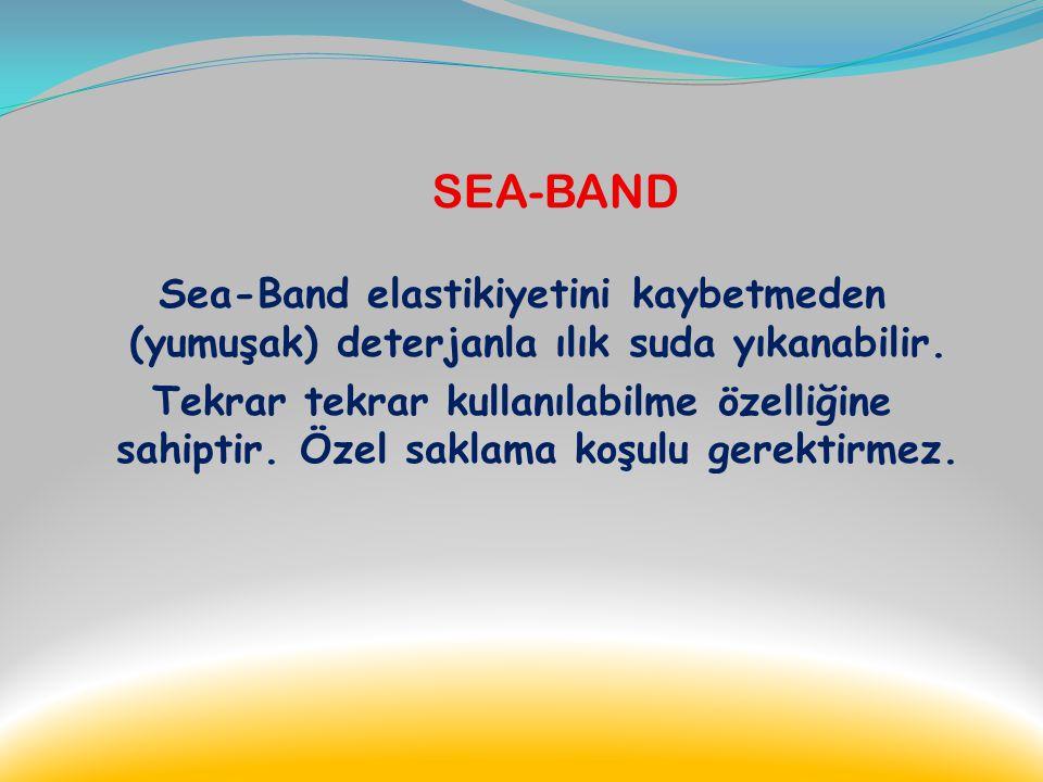 SEA-BAND Sea-Band özel iplik karışımından örülmedir ve latex içermez. Bu özelliği sayesinde hassas ciltlerde bile alerjiye neden olmaz. Yumuşak ve rah