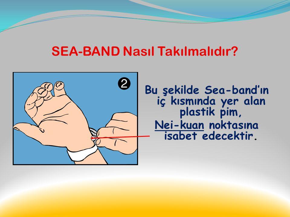 SEA-BAND Nasıl Takılmalıdır? Üç orta parmağınızı bileğinizin iç kısmına yerleştiriniz. Nei-Kuan noktası, işaret parmağınızın denk geldiği noktada, iki