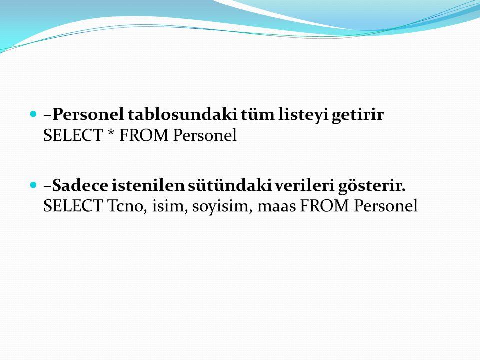–Tanımladığım 3 bölümde çalışan elemanları listele SELECT * FROM Personel WHERE BolumNo=1 OR BolumNo=2 OR BolumNo=4 SELECT * FROM Personel WHERE BolumNo IN(1,2,4) –Zamlı maaşları göster SELECT Maas AS 'Asıl Maaş', Maas+1000 AS 'Zamlı Maaş' FROM Personel
