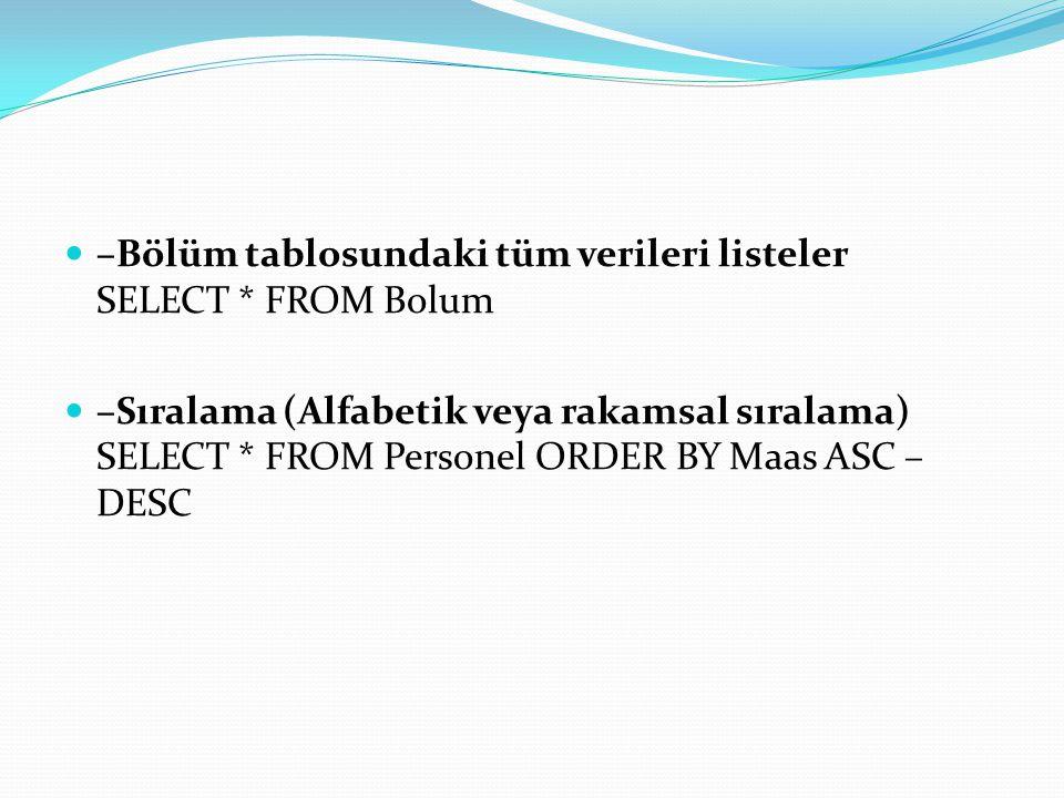 –İsme göre aynı olanları eler SELECT DISTINCT isim FROM Personel WHERE isim='Ahmet' –İlk 3 harfi kad olan tüm verileri getirir.
