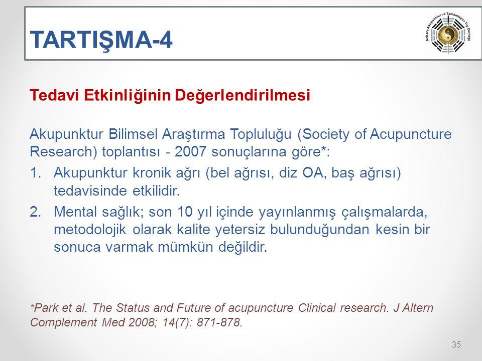 TARTIŞMA-4 Tedavi Etkinliğinin Değerlendirilmesi Akupunktur Bilimsel Araştırma Topluluğu (Society of Acupuncture Research) toplantısı - 2007 sonuçlarına göre*: 1.Akupunktur kronik ağrı (bel ağrısı, diz OA, baş ağrısı) tedavisinde etkilidir.