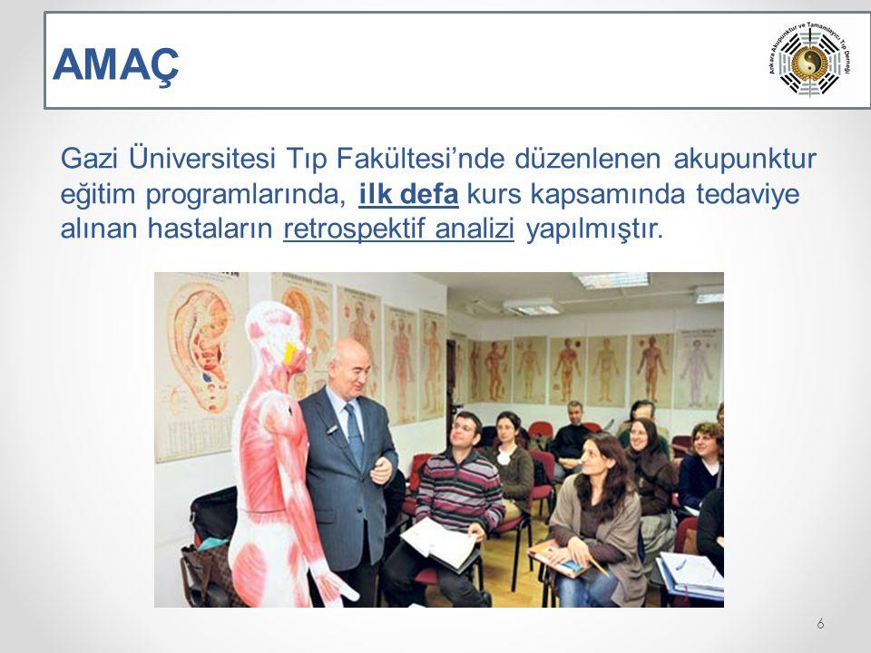 Gazi Üniversitesi Tıp Fakültesi'nde düzenlenen akupunktur eğitim programlarında, ilk defa kurs kapsamında tedaviye alınan hastaların retrospektif analizi yapılmıştır.