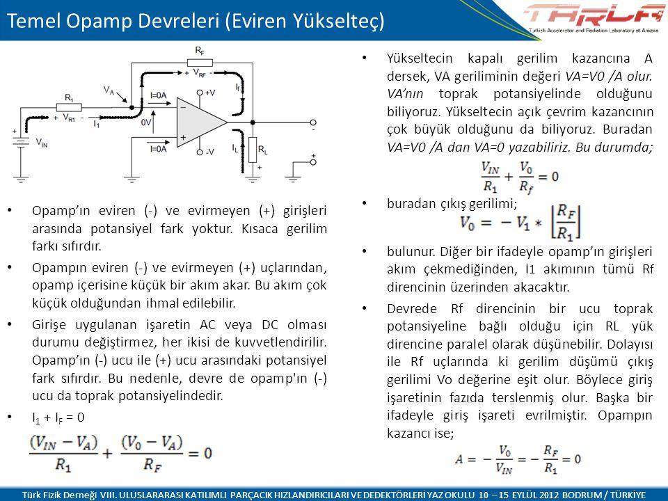 Temel Opamp Devreleri (Eviren Yükselteç) Opamp'ın eviren (-) ve evirmeyen (+) girişleri arasında potansiyel fark yoktur.
