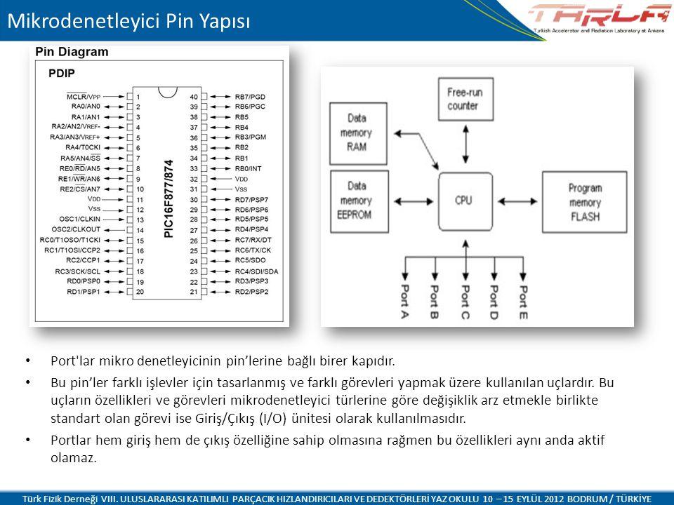 Port'lar mikro denetleyicinin pin'lerine bağlı birer kapıdır. Bu pin'ler farklı işlevler için tasarlanmış ve farklı görevleri yapmak üzere kullanılan