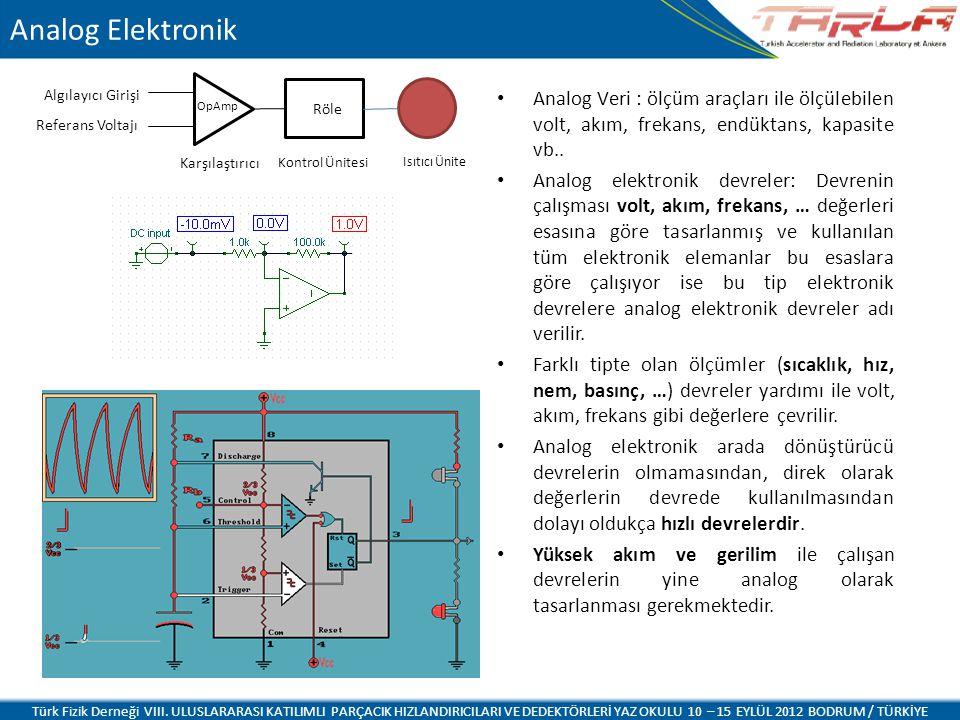 Analog Elektronik Analog Veri : ölçüm araçları ile ölçülebilen volt, akım, frekans, endüktans, kapasite vb.. Analog elektronik devreler: Devrenin çalı