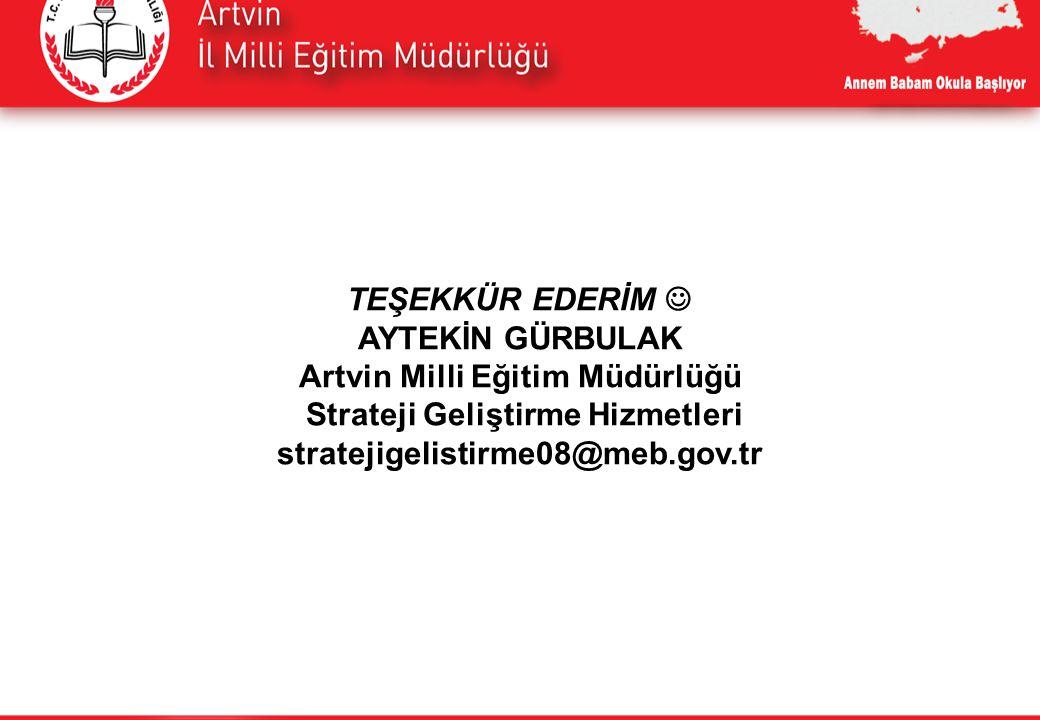TEŞEKKÜR EDERİM AYTEKİN GÜRBULAK Artvin Milli Eğitim Müdürlüğü Strateji Geliştirme Hizmetleri stratejigelistirme08@meb.gov.tr