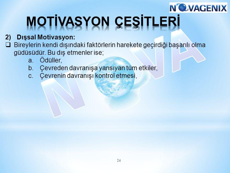 24 2)Dışsal Motivasyon:  Bireylerin kendi dışındaki faktörlerin harekete geçirdiği başarılı olma güdüsüdür. Bu dış etmenler ise; a.Ödüller, b.Çevrede